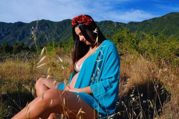 Gabriela Díaz durante su embarazo.